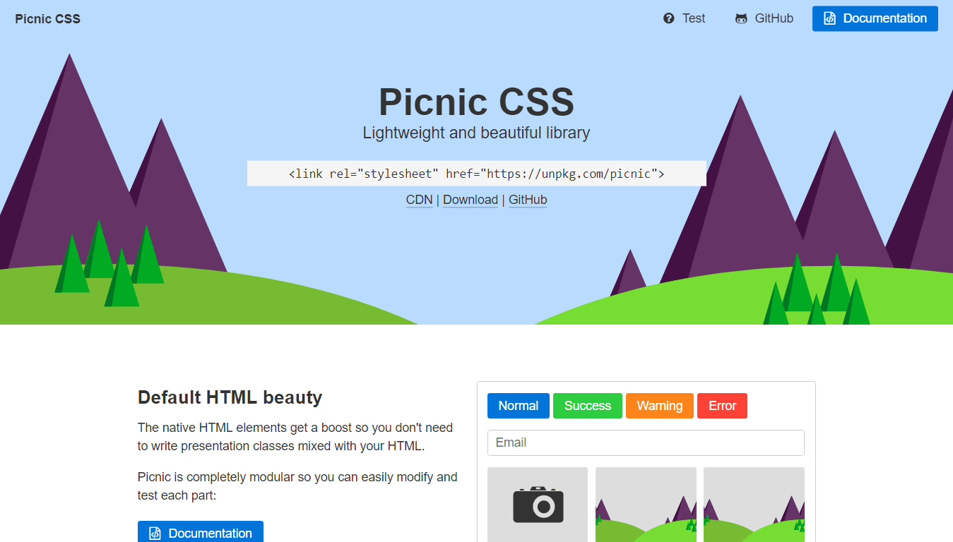 Picnic CSS for Responsive Design